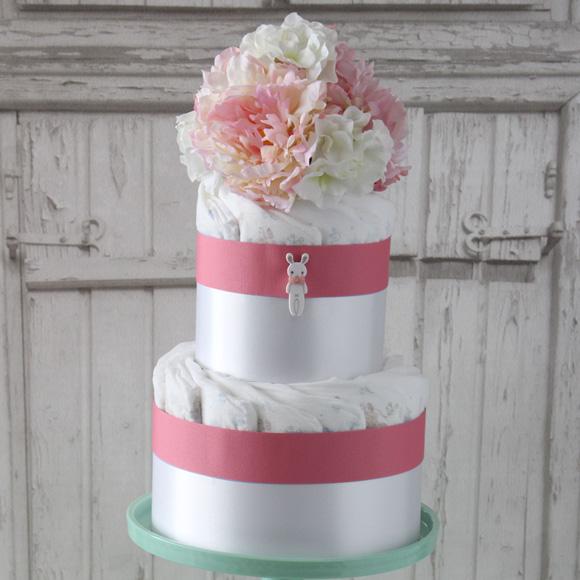 ノルンピンク おむつケーキ2段ブーケあり