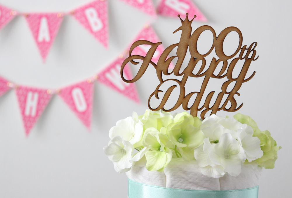 木製ケーキトッパー100days Happy Days