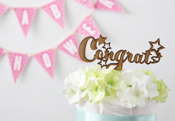 木製ケーキトッパー Congrats