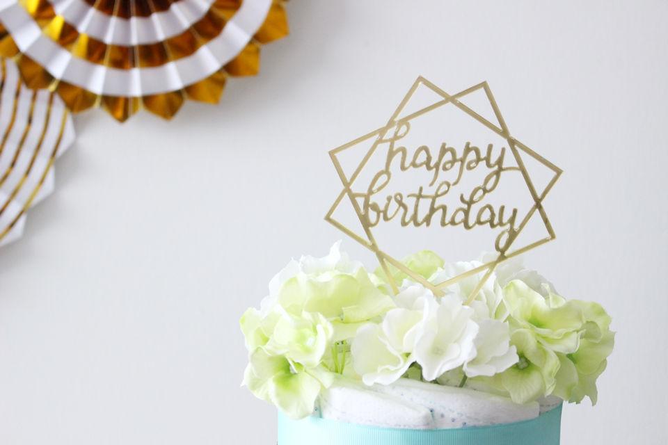 【パーティアイテム】ケーキトッパー HAPPY BIRTHDAY スクエア