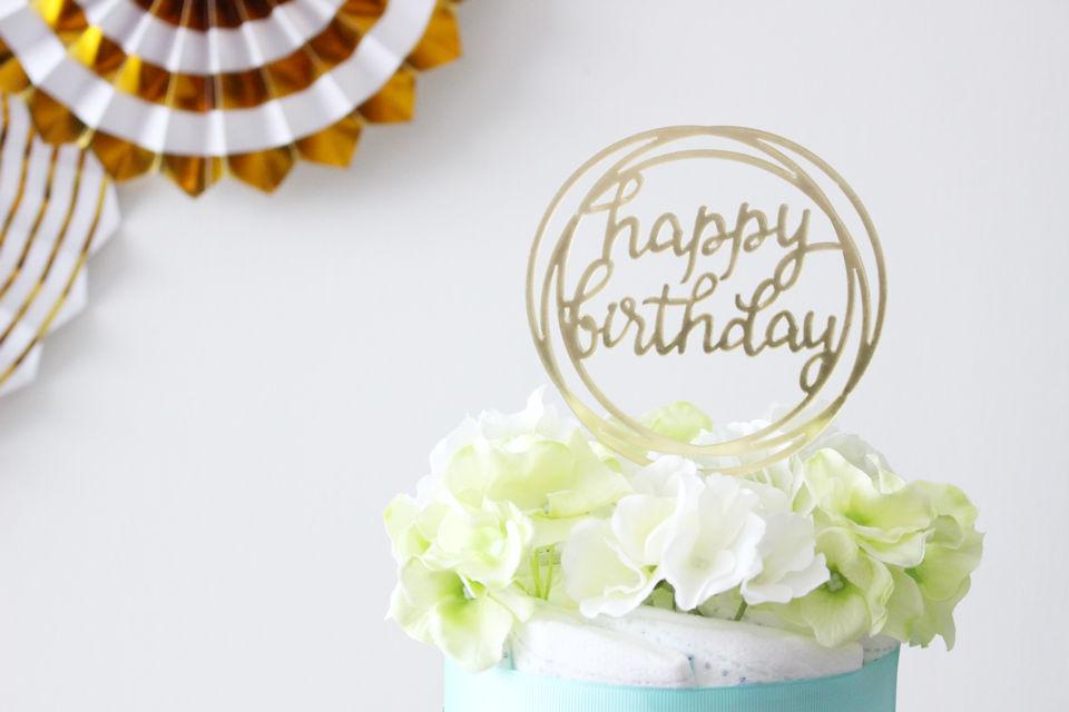 【パーティアイテム】ケーキトッパー HAPPY BIRTHDAY ラウンド