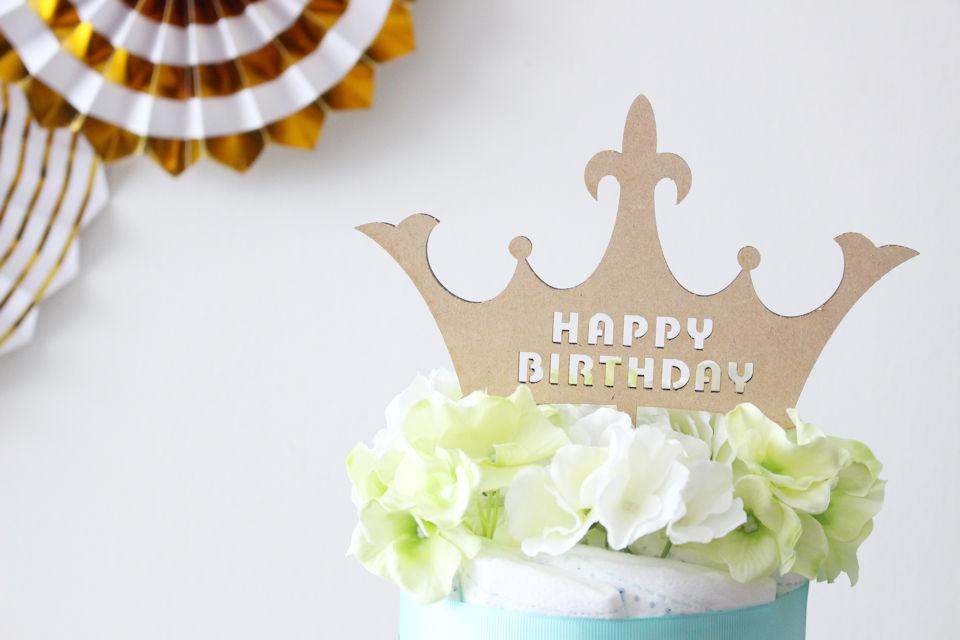 【パーティアイテム】オリジナル木製ケーキトッパー HAPPY BIRTHDAY 王冠