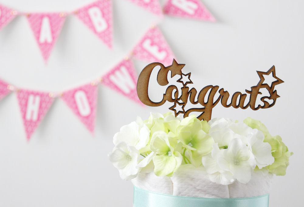 【パーティアイテム】オリジナル木製ケーキトッパー Congrats 出産祝い ベビーシャワー