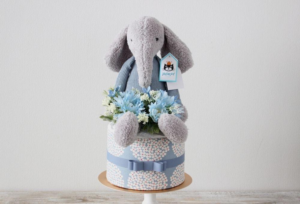 【おむつケーキ】ジェリーキャットの象のぬいぐるみ付き Jumble Elephant