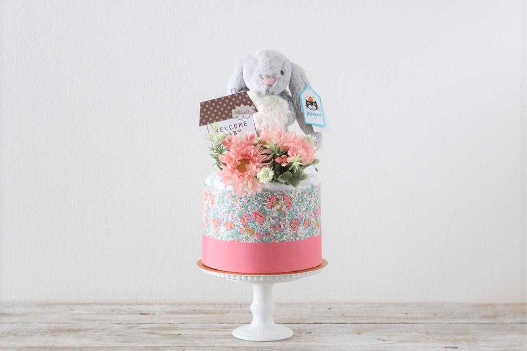 NEW【おむつケーキ】ジェリーキャット うさぎのぬいぐるみ付き ダイパーケーキ Blossom Bea Beige Bunny