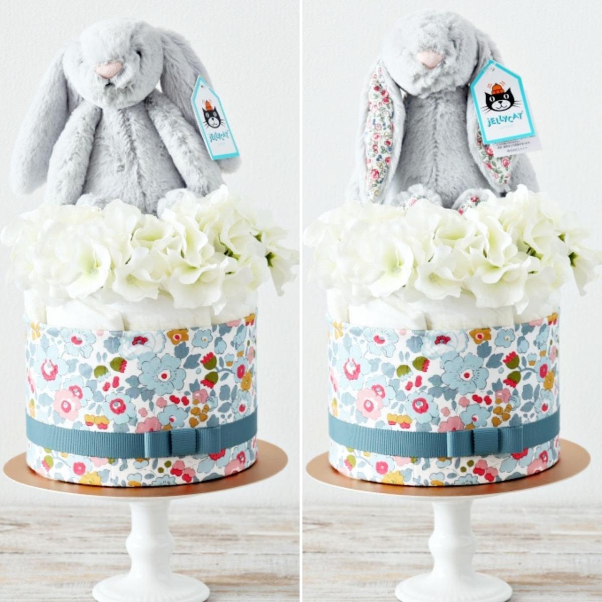 NEW【おむつケーキ】ジェリーキャット うさぎのぬいぐるみ付き ダイパーケーキ Silver Bunny
