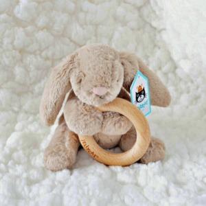 Bashful Beige Bunny Wooden Ring Toy